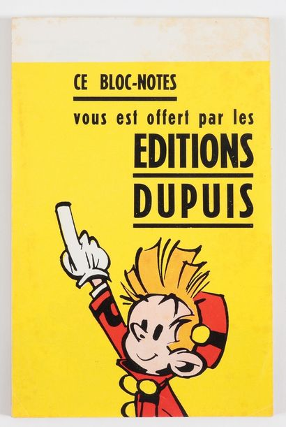 """Spirou : Ensemble de 2 bloc-notes Spirou (jaune et bleu, 1961). Mentionnés dans """"..."""