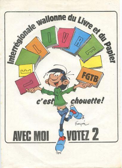 """Franquin : Gaston, Affichette """" Interrégionale Wallonne du livre et du papier """"...."""