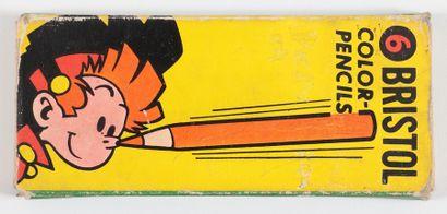 Spirou : Petite boîte de crayons courts de 1958 (boîte jaune, Ed. Bristol, Germany).Mentionnée...