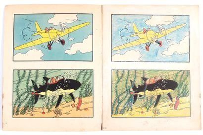 Tintin : Album à colorier n°3, édition de 1955. Toutes les cases sont coloriées....