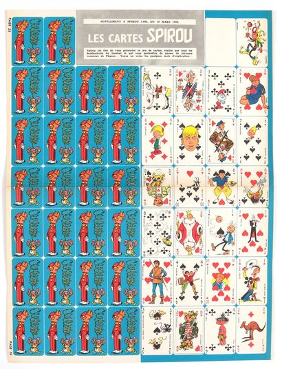 "Spirou : Feuillet "" Les Cartes Spirou "" des héros du Journal Spirou en supplément..."