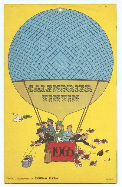 Hergé : Calendrier du journal Tintin de 1965, supplément réalisé par Publiart. Couverture...