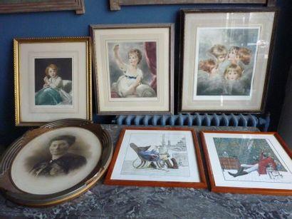 Ensemble de six gravures, reproductions et...