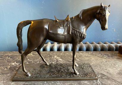 MINATI (XXè) Cheval sellé et harnaché Bronze...