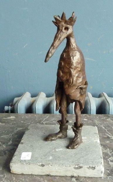 Anonyme, XXè Marabout Bronze à patine brune...