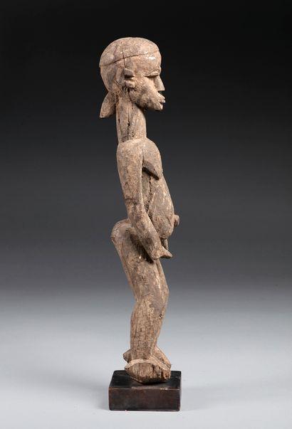 Statue masculine Bois, ancienne patine crouteuse...