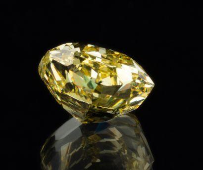 Diamant naturel jaune intense (Fancy Intense Yellow) de 1,01 ct., taille carré modifié...