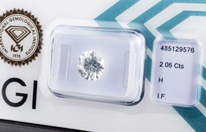 Diamant de 2,06 ct., pureté parfaite IF (Internally Flawless), couleur H, taille...