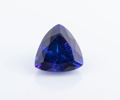 Tanzanite de 47,65 ct. remarquable par sa couleur bleue saturée et sa taille trillion...