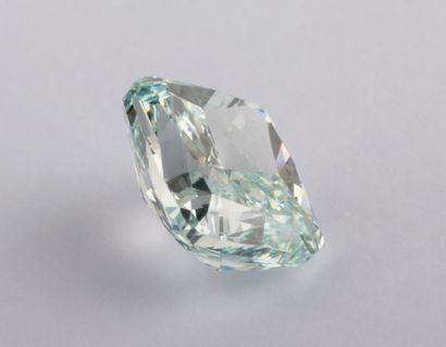 Diamant vert bleu intense de 0,50 ct. taille coussin modifié, pureté VS1. Que dire...
