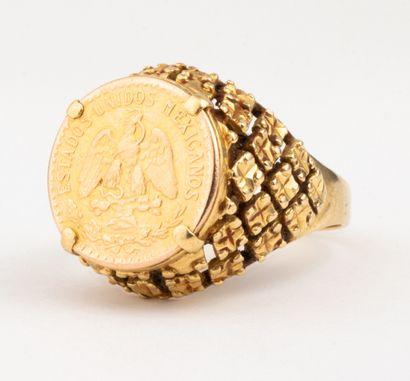 Chevalière en or jaune 18k (750 millièmes)...