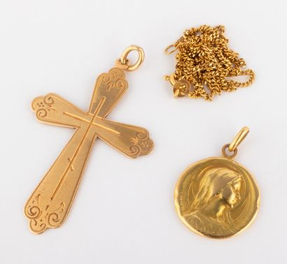 Lot composé d'une médaille de la Vierge et...