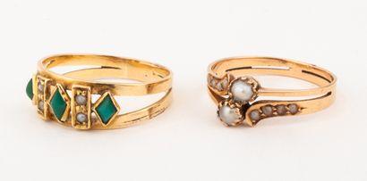 Lot de deux charmantes bagues du XIXe siècle...