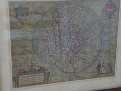 Carte ancienne de Leuven colorée circa 1600....