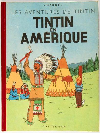 Tintin - En Amérique: B5 de 1951, dos rouge,...