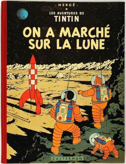 Tintin - On a marché sur la lune: Edition originale belge. Dos rouge. B11. Très...