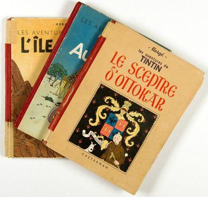 Tintin - Ensemble de 3 albums: Sceptre d'Ottokar N&B (A17), L'île noire (EO couleur),...