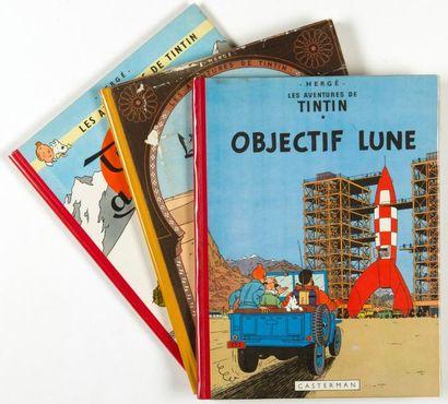Tintin - Ensemble de 3 albums: Objectif lune...