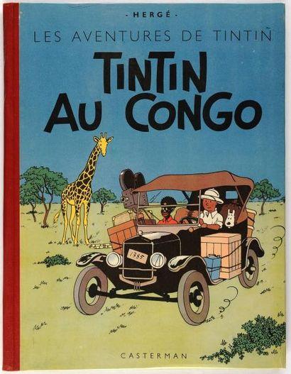 Tintin - Au Congo: Dos rouge. B2. Superbe album proche de l'état neuf (erreur d'origine:...