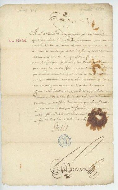LOUIS XIV. Lettre de Louis XIV du 8 juillet...