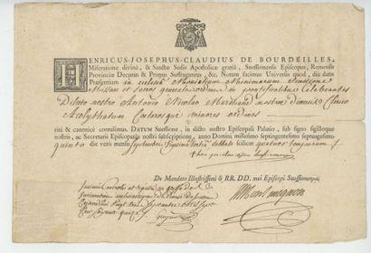 Certificat d'ordination faite par Mgr Henri-Joseph-Claude...