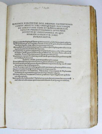 SIMONETTA (Bonifazio) Bonifacii Symonetae divi ordinis doctissimi cistertiensis cornu...