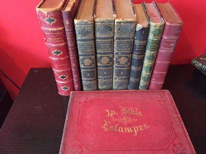 Lot. Lot de 9 volumes reliés (reliures frottées)...