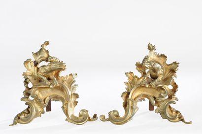 PAIRE DE CHENETS en bronze doré sur le thème...