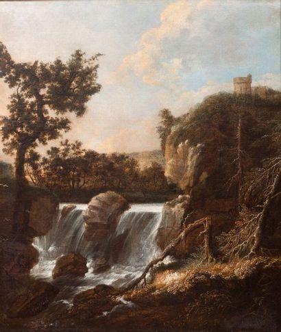 Suiveur de RUISDAEL Vue d'une cascade Huile...