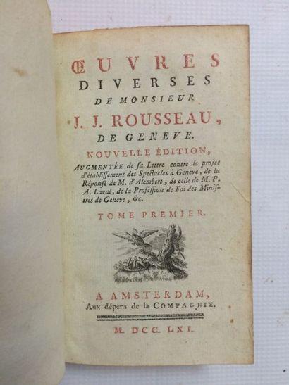 Lot. 3 ouvrages: - ROUSSEAU (Jean-Jacques)....