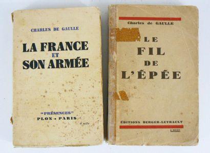 DE GAULLE (Charles) Le Fil de l'épée. Paris, Berger-Levrault, 1932. In-8 broché....