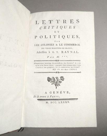 [Esclavage & COLONIES & DUBUISSON (P. U.) & DUBUCQ] Lettres critiques et politiques...