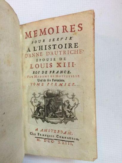 MOTTEVILLE (Françoise Bertaut, Dame de) Mémoires pour servir à l'histoire d' Anne...