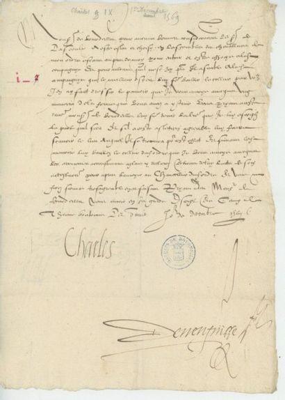 CHARLES IX. Lettre de Charles IX, décembre...