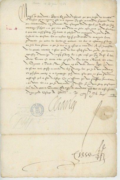 CHARLES IX. Lettre de Charles IX, 9 juin...