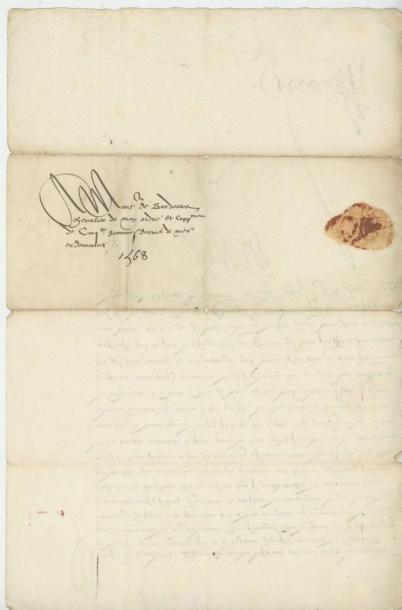 CHARLES IX. Lettre de Charles IX, 9 juin 1568. Réduction de crédit et du nombre...
