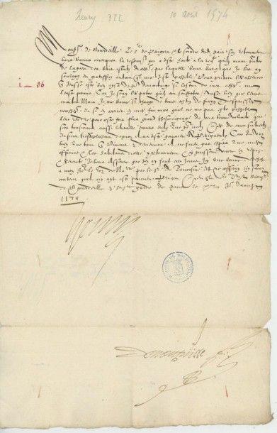 HENRI III. Lettre de Henri III, 11 août 1574....