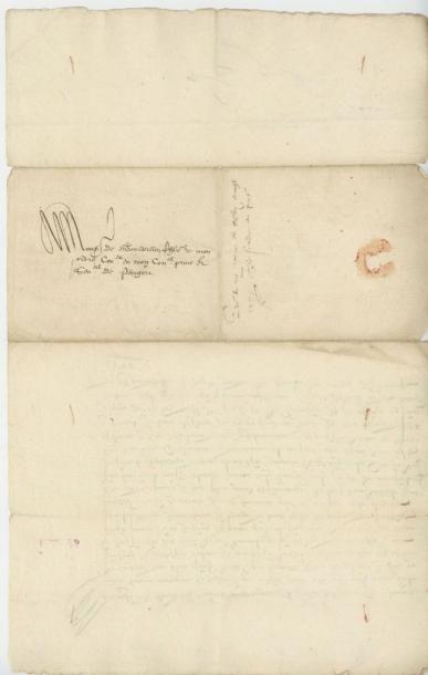 HENRI III. Lettre de Henri III, 11 août 1574. Le roi trop chargé de dépenses explique...