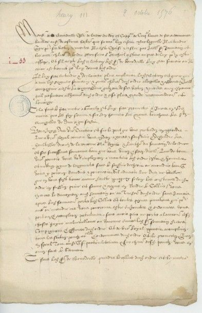 HENRI III. Lettre de Henri III du 7 octobre...