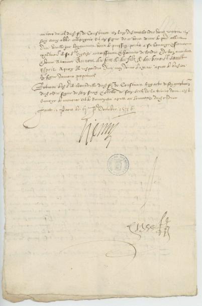 HENRI III. Lettre de Henri III du 7 octobre 1576. Importants détails de la cérémonie...