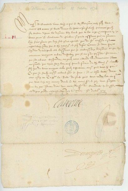 CATHERINE DE MEDICIS. Lettre de Catherine...