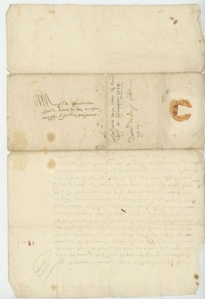 CATHERINE DE MEDICIS. Lettre de Catherine de Médicis du 18 octobre 1574. Catherine...