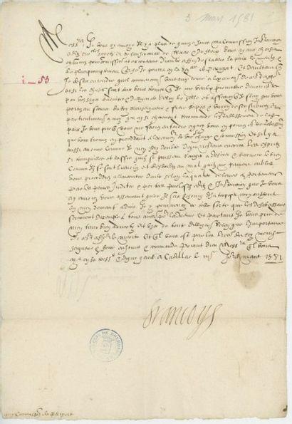 FRANÇOIS de FRANCE, Duc d'Anjou. Lettre de...