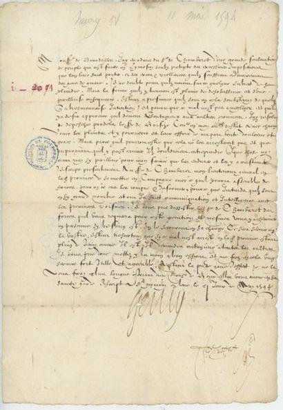 HENRI IV. Lettre de Henri IV du 9 mai 1594....