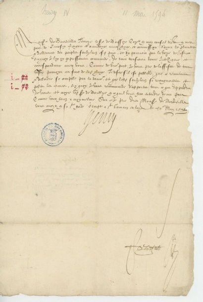 HENRI IV. Lettre de Henri IV du 11 mai 1594....