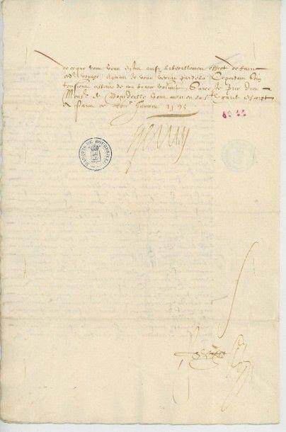 HENRI IV. Lettre de Henri IV du 17 janvier 1595. Importante lettre de Henri IV au...