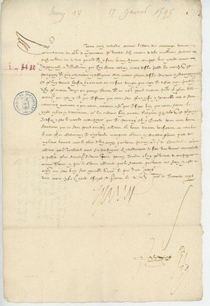 HENRI IV. Lettre de Henri IV du 17 janvier...