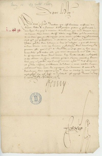 HENRI IV. Lettre de Henri IV du 29 juillet...