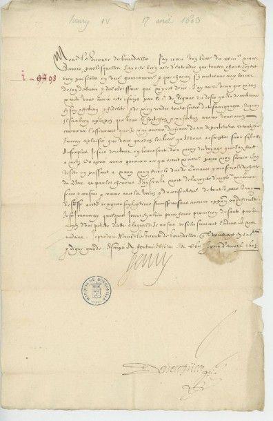 HENRI IV. Lettre de Henri IV du 17 avril...