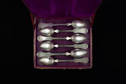 Série de six cuillières à dessert en argent,...